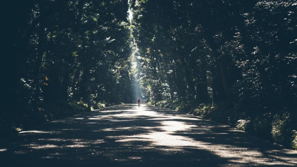 walking down dark path